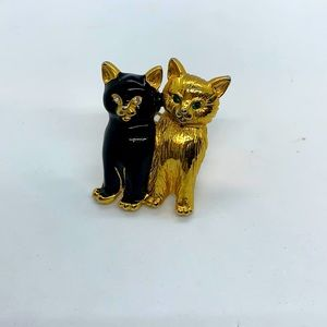 VTG pair of cats with sparkly eyes gold and black